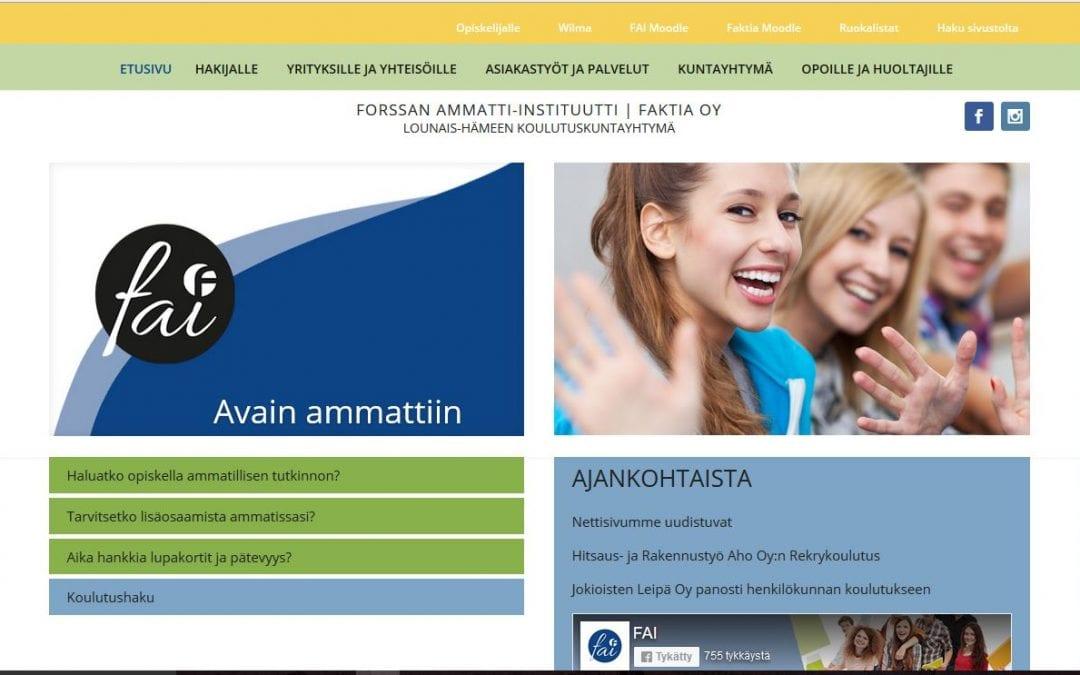 Lounais-Hämeen koulutuskuntayhtymälle uusi laaja verkkopalvelu.
