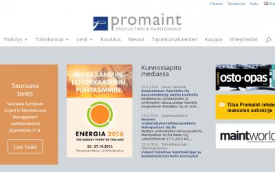 Kunnossapitoyhdistys Promaint ry:lle uusi mobiiliystävällinen verkkopalvelu