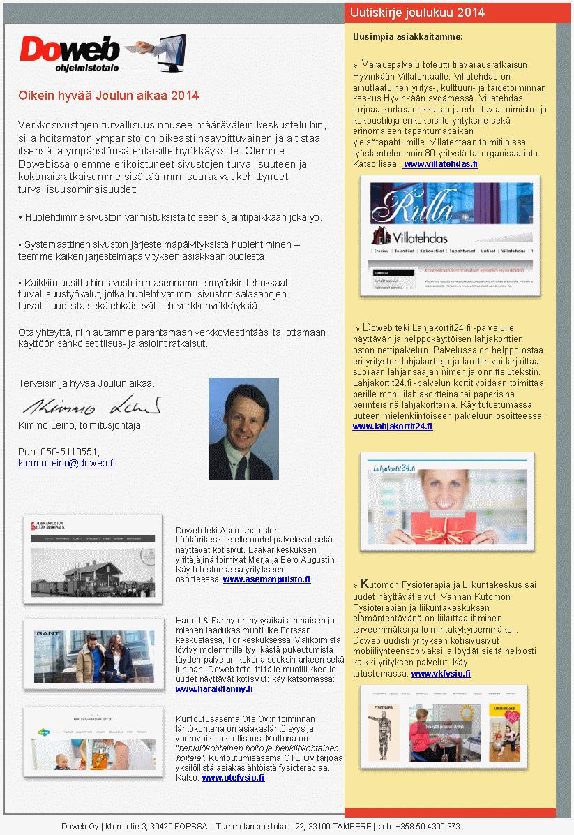 Uutiskirje joulukuu 2014